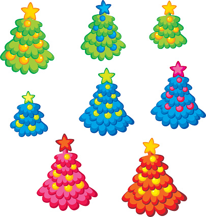Green Young Christmas Tree Isolated On White Background Clip Art