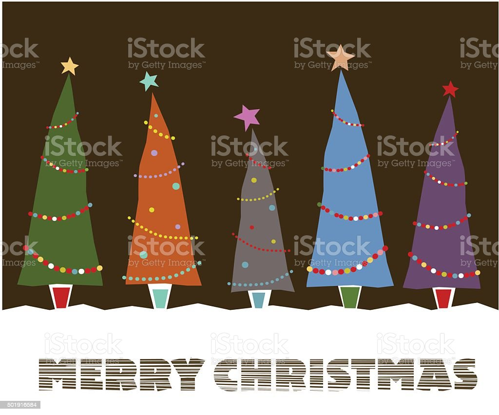 Xmas Tree and Merry Christmas Decoration vector art illustration