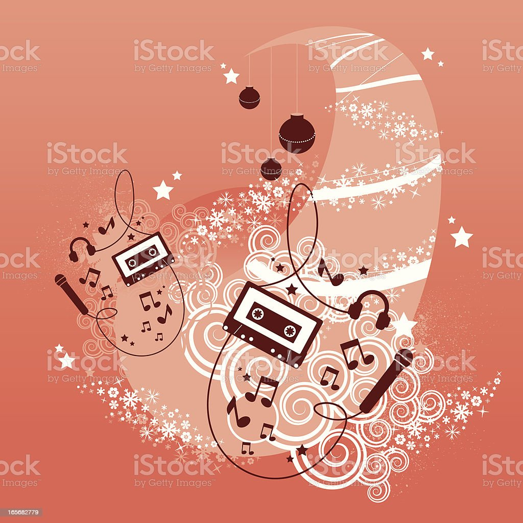 xmas tree and music graphic royalty-free stock vector art