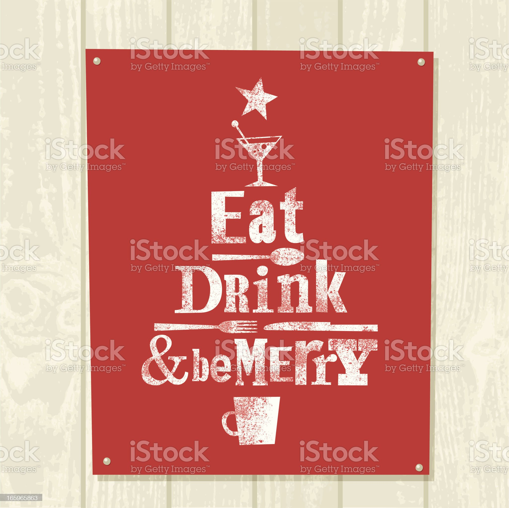 Xmas tree eat drink be merry illustration vector design royalty-free stock vector art
