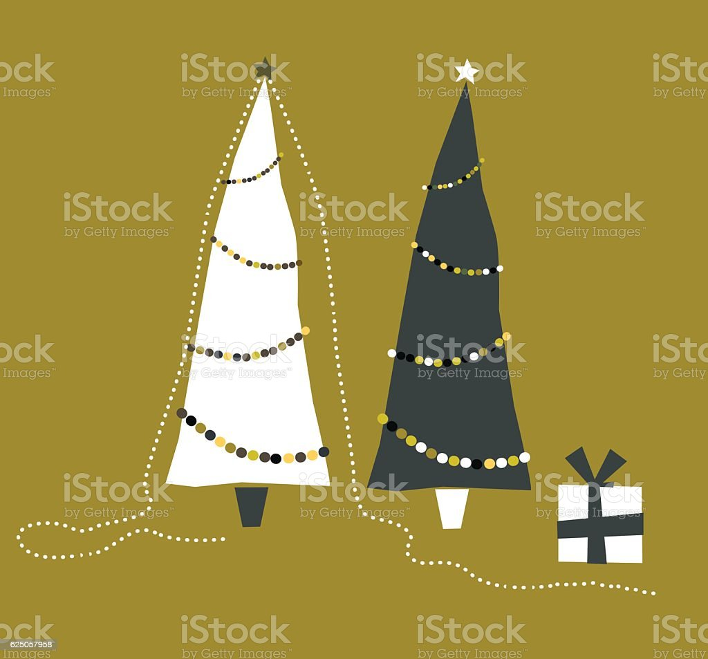 Xmas Tree With Gift Boxes and Merry Christmas Decoration vector art illustration