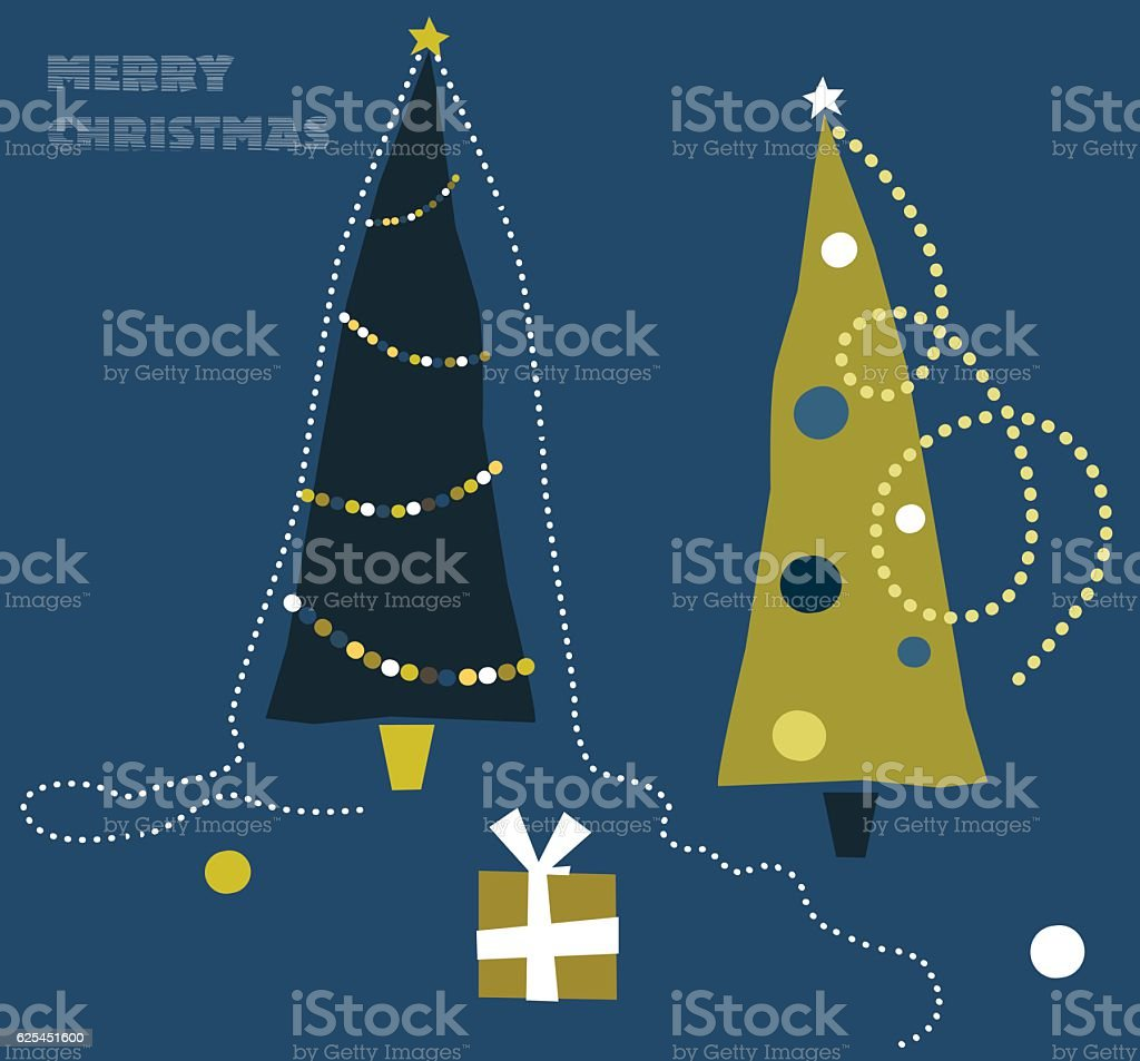 Xmas Tree With Merry Christmas Decoration and Gift Box vector art illustration