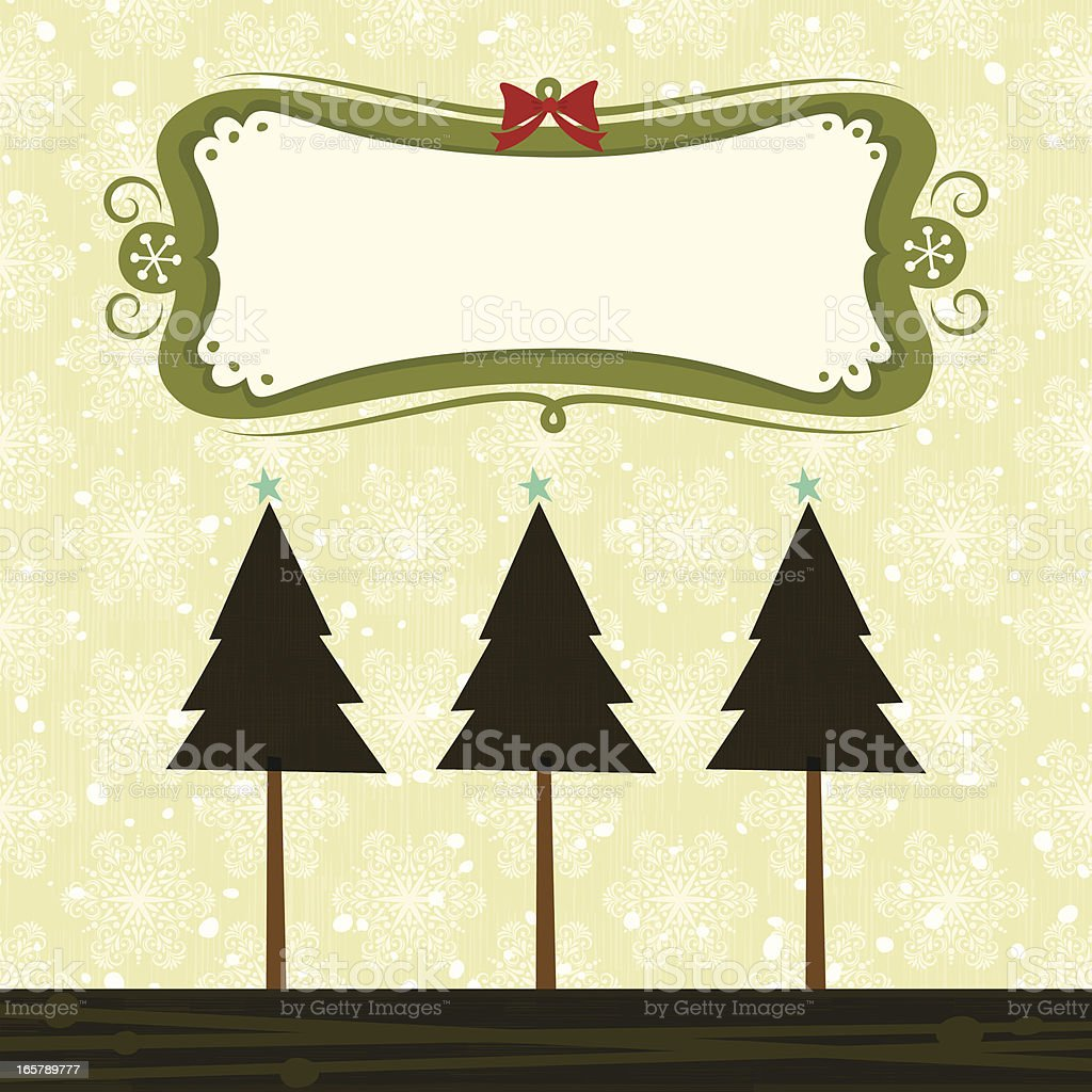 Xmas Trees with banner royalty-free stock vector art