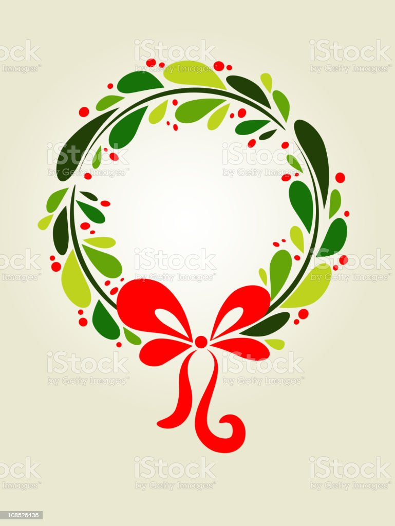 Xmas wreath background vector art illustration