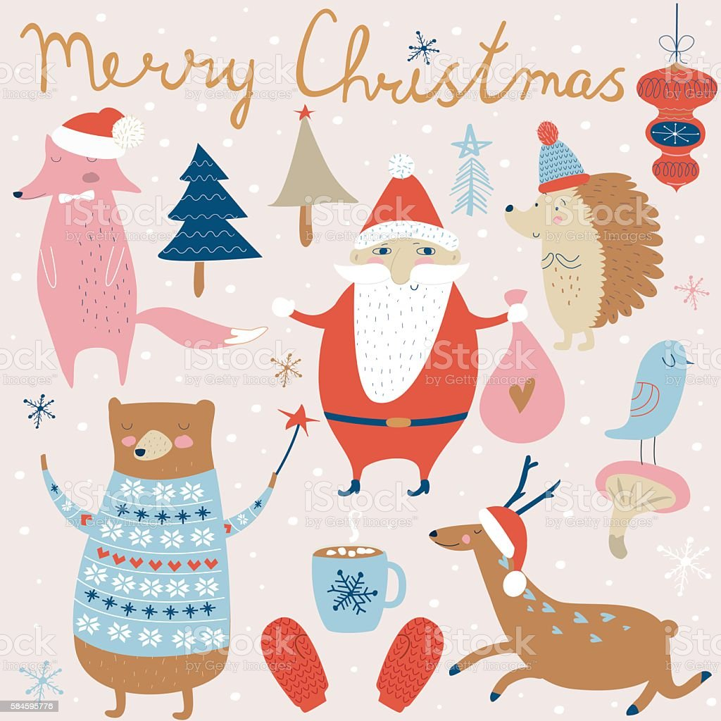 xmassetsantaanimals vector art illustration