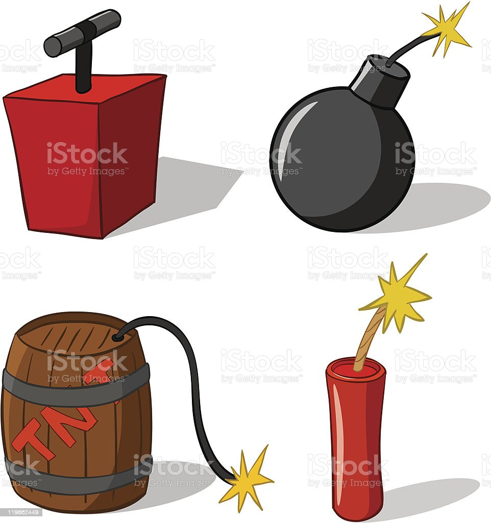 Еxplosive bomb with burning fuse vector art illustration