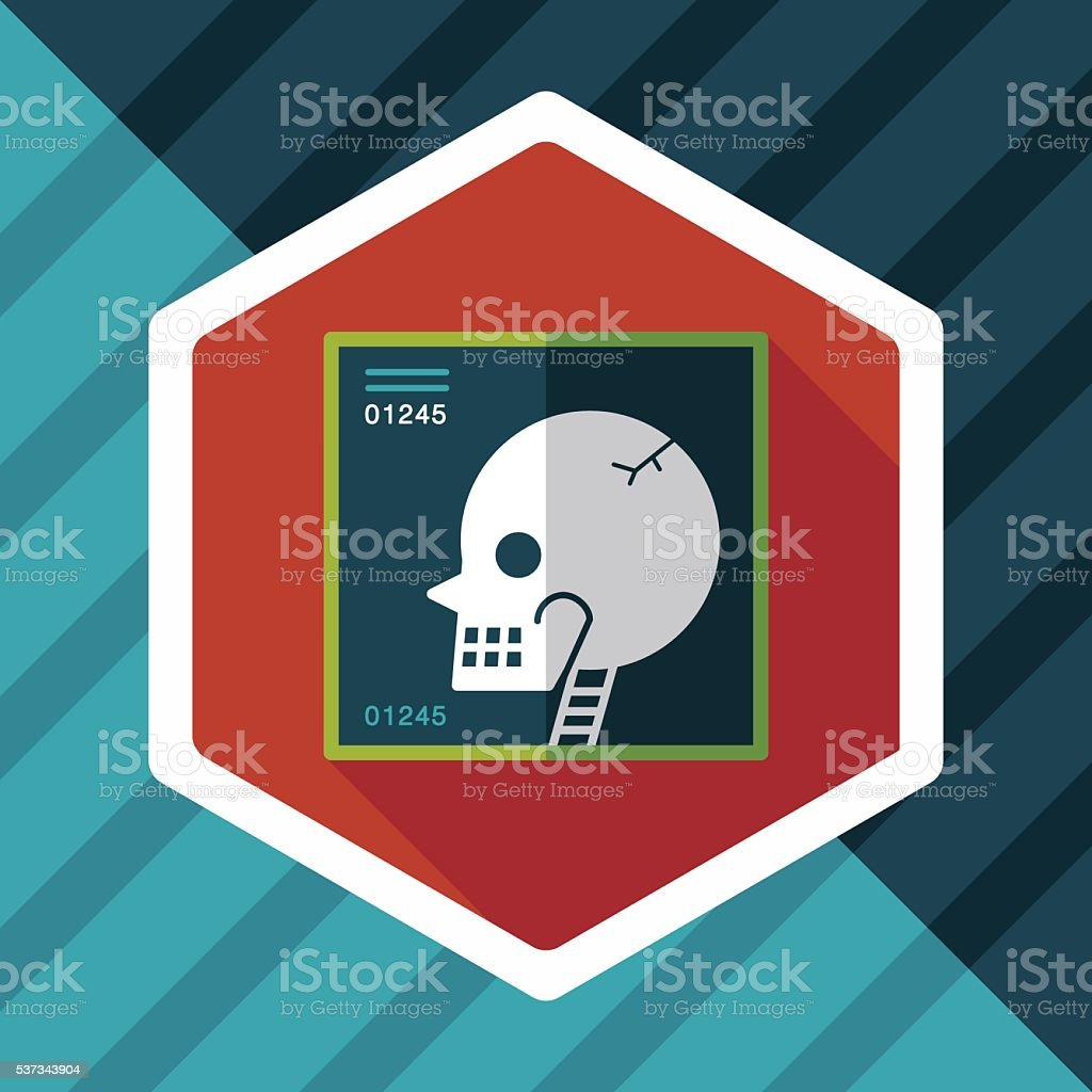 x-ray flat icon with long shadow vector art illustration