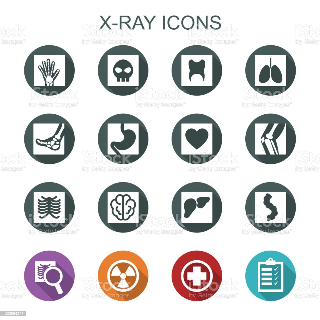 x-ray long shadow icons vector art illustration