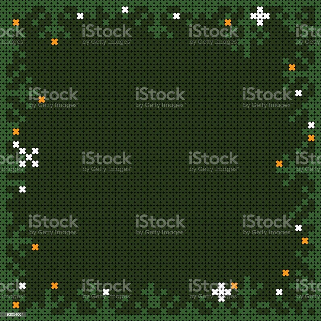 x-stitch christmas frame with pine branches and snow flakes vector art illustration