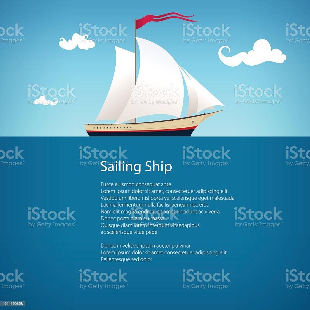 Yacht at Sea , Brochure Design vector art illustration