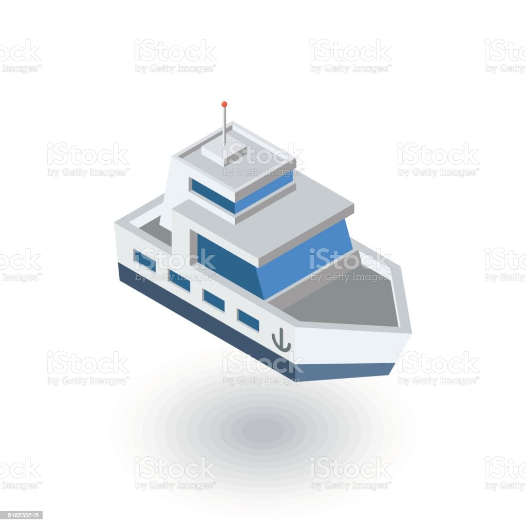 Yacht boat isometric flat icon. 3d vector vector art illustration