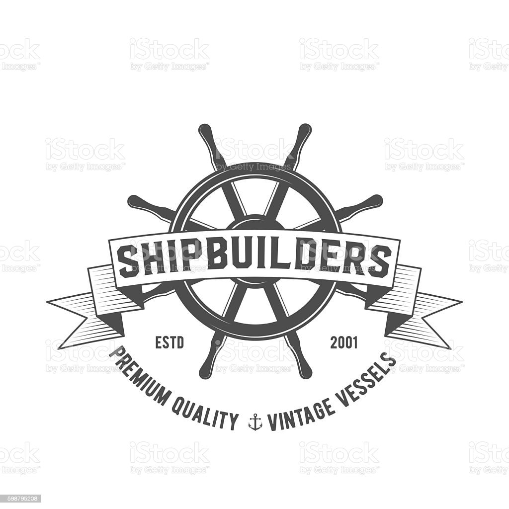 Yacht club badge, logo, label vector art illustration