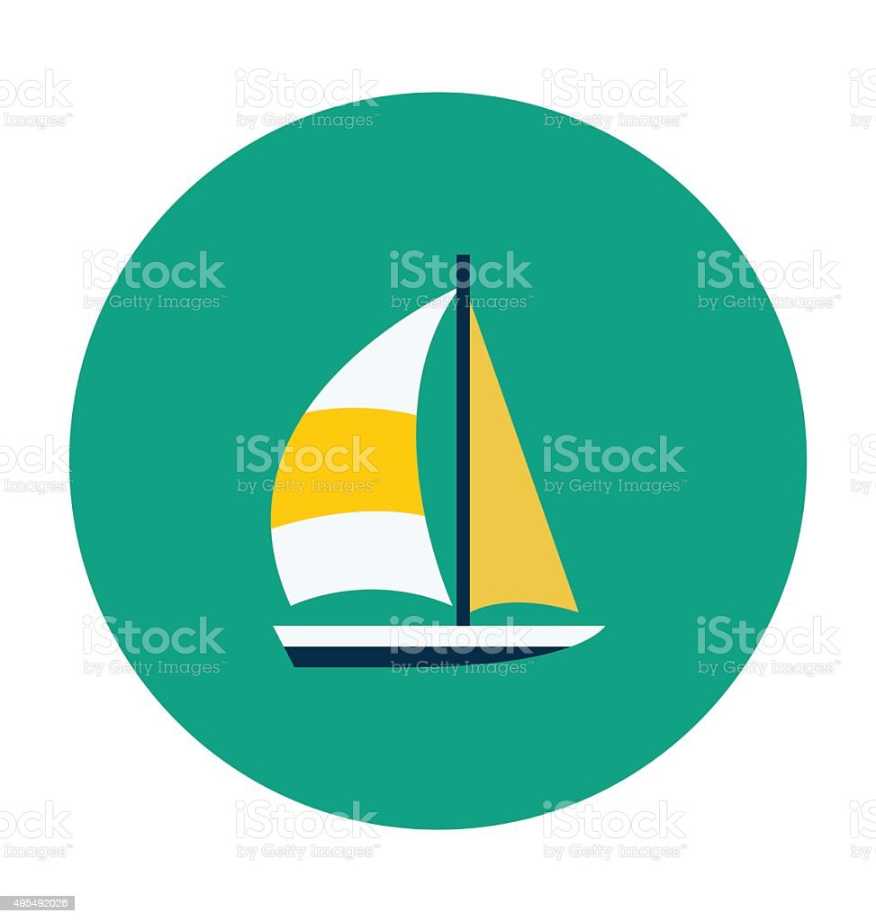 Yacht Colored Vector Icon vector art illustration