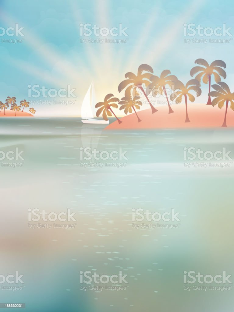 Yacht in sea at sunset. EPS 10 vector art illustration
