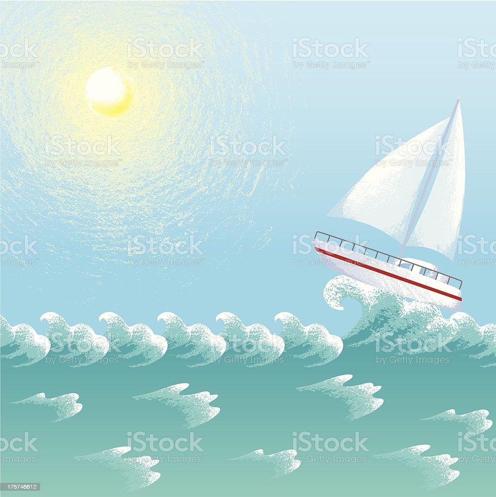 Yacht In Summer Ocean royalty-free stock vector art