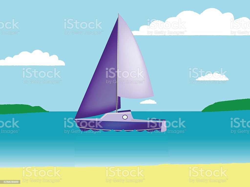 Yacht in the bay in vector format. vector art illustration