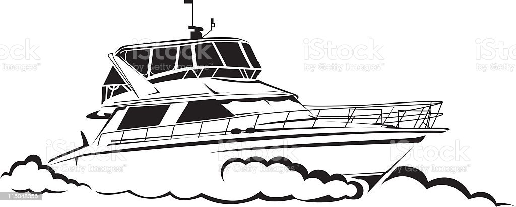 Yacht Line Drawing royalty-free stock vector art