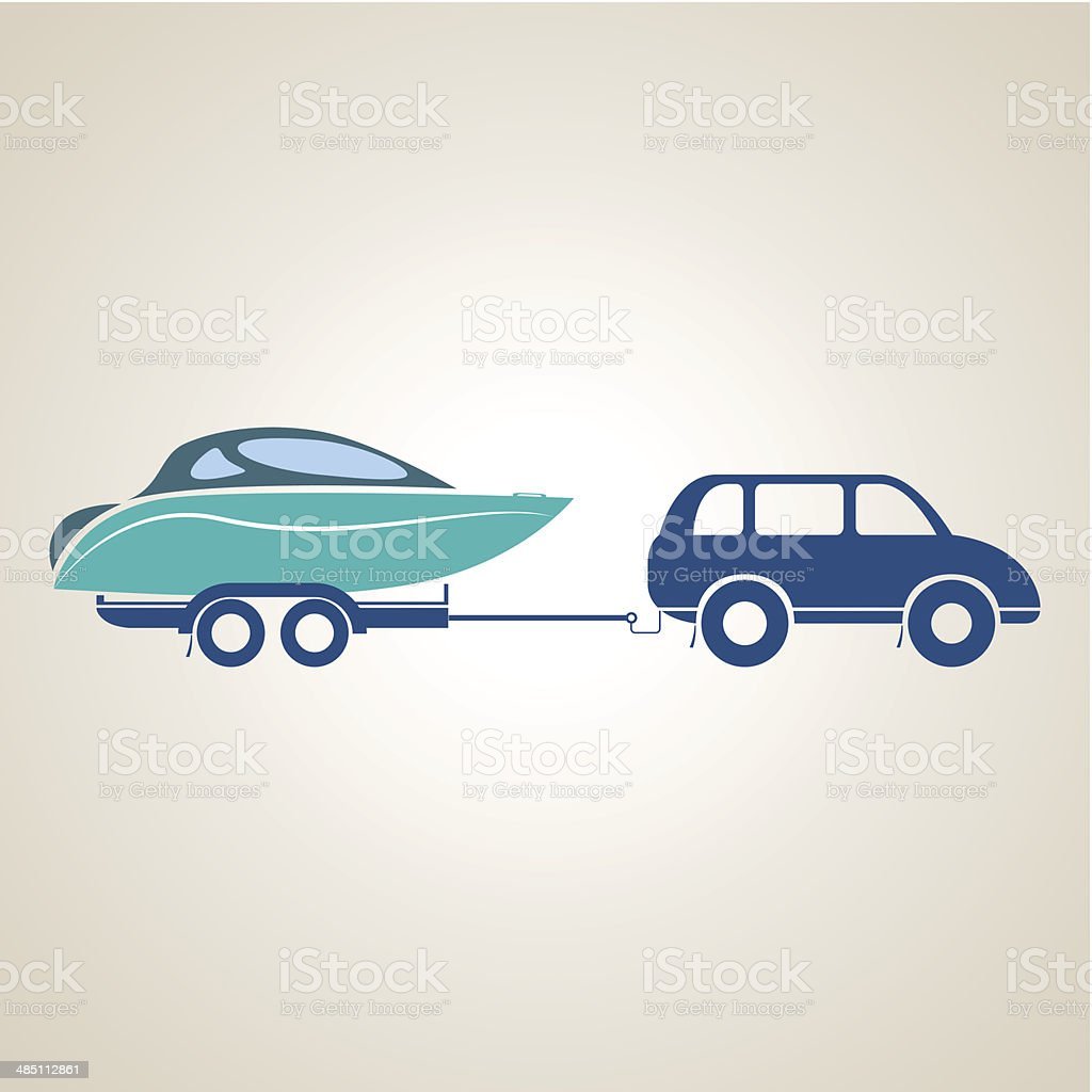 Yacht on a trailer vector art illustration