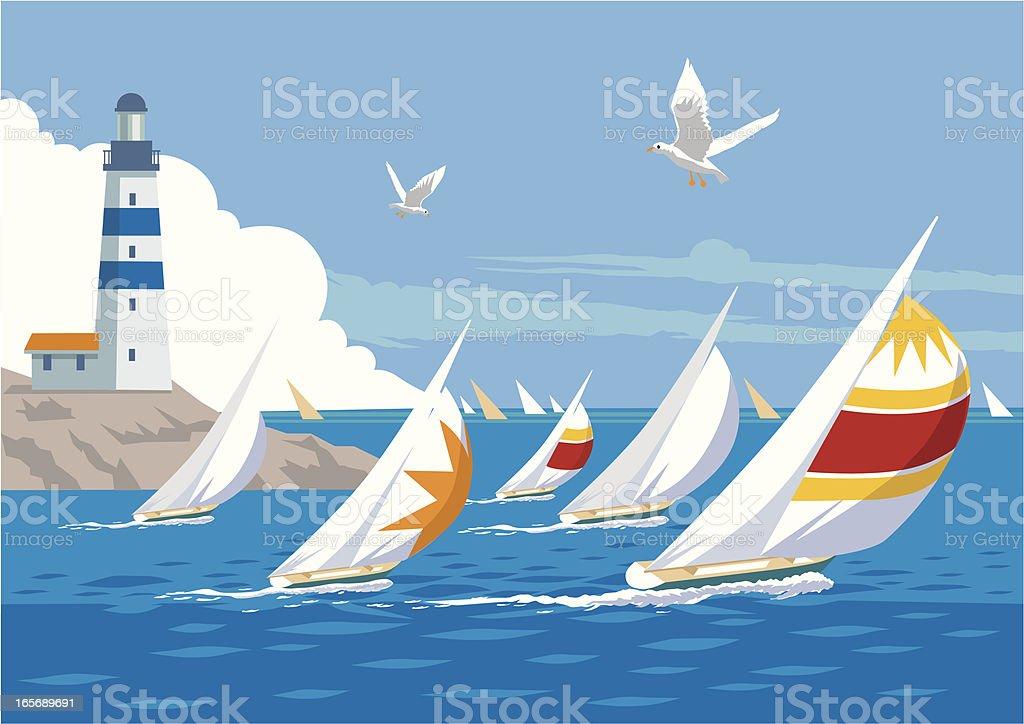 Yacht Race vector art illustration