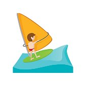 Yacht racing cartoon icon