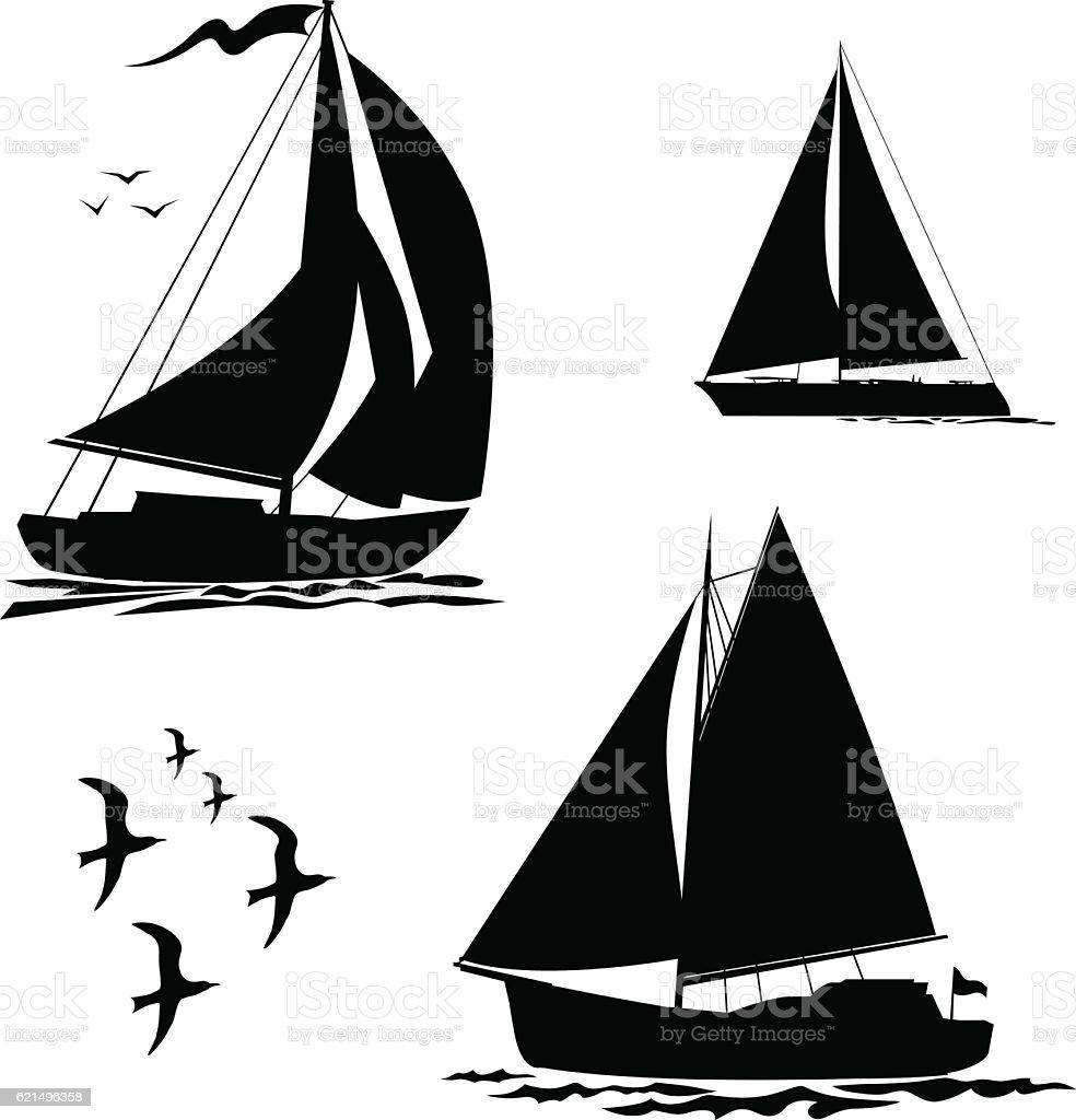 Yacht, sailboats and gull set vector art illustration