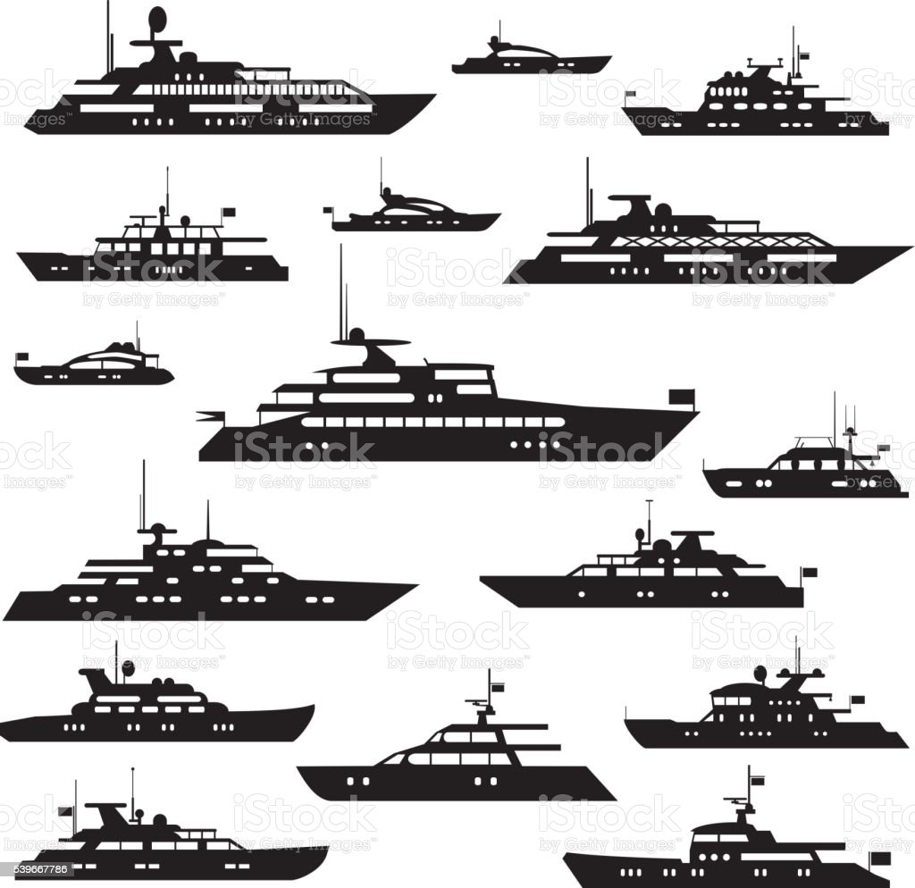 Yacht symbol silhouette vector art illustration