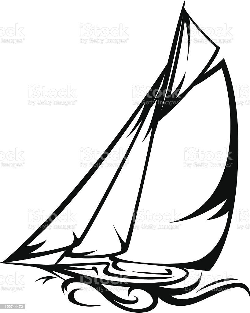 Yacht vector art illustration