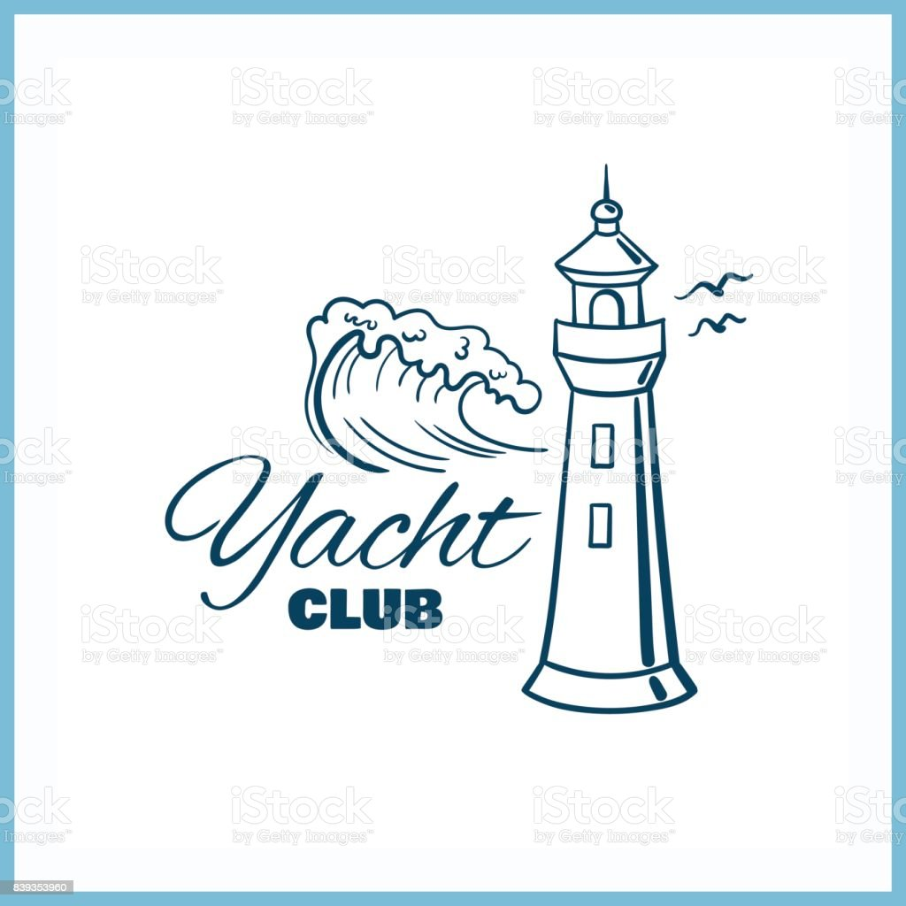 Yacht_Club_Badge_With_Lighthouse vector art illustration