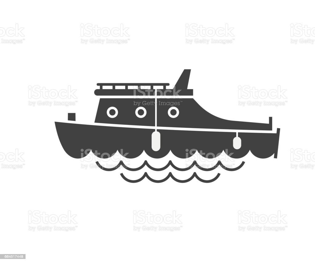 Yachting Boat Outline Icon vector art illustration