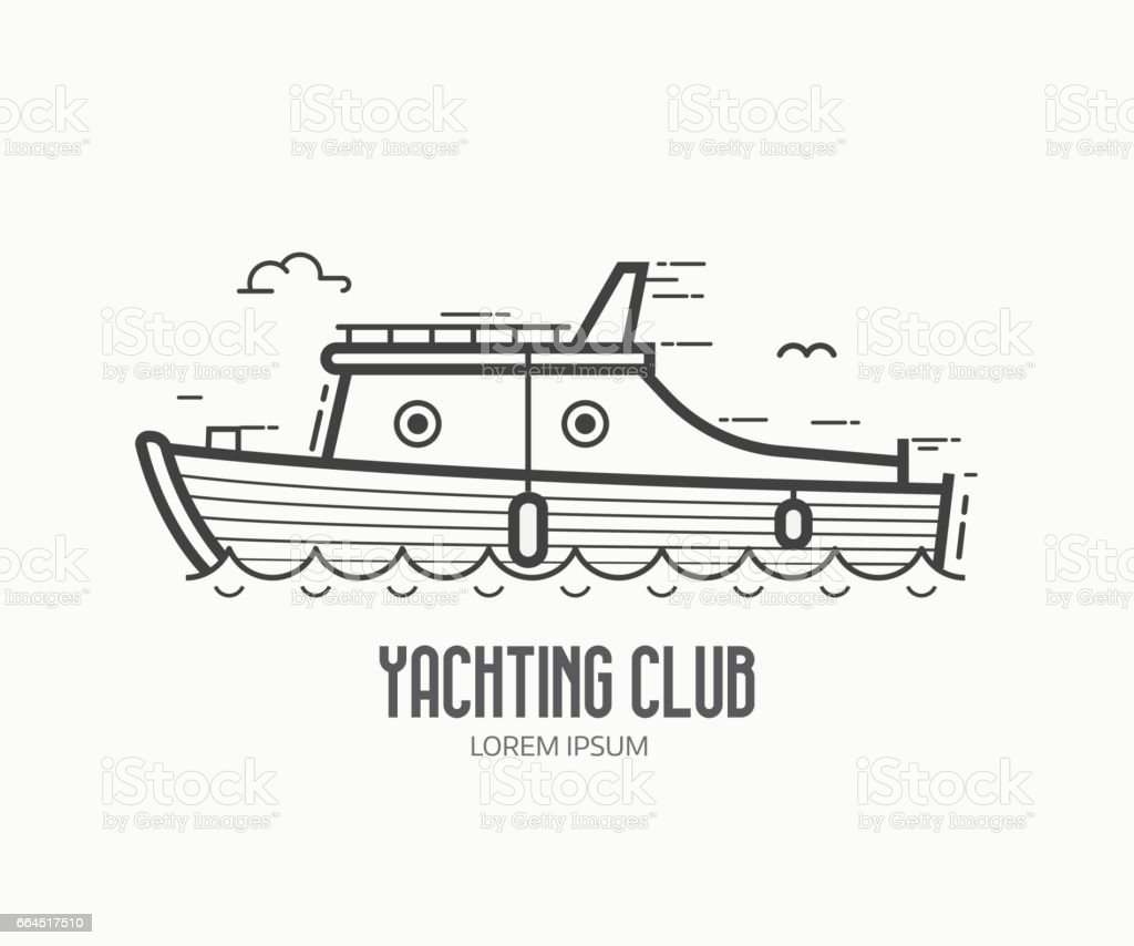 Yachting Club Logo in Thin Line Design vector art illustration