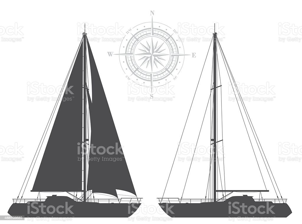 Yachts isolated on white background. vector art illustration