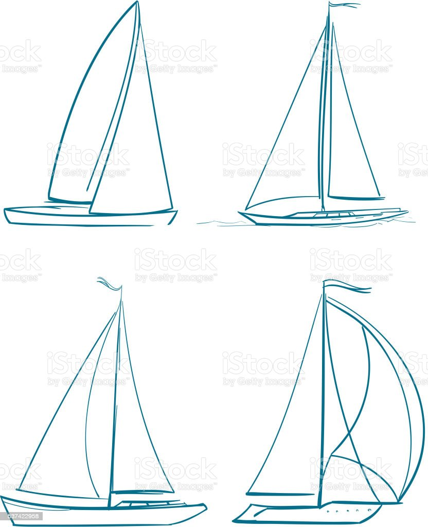 yachts symbols vector art illustration