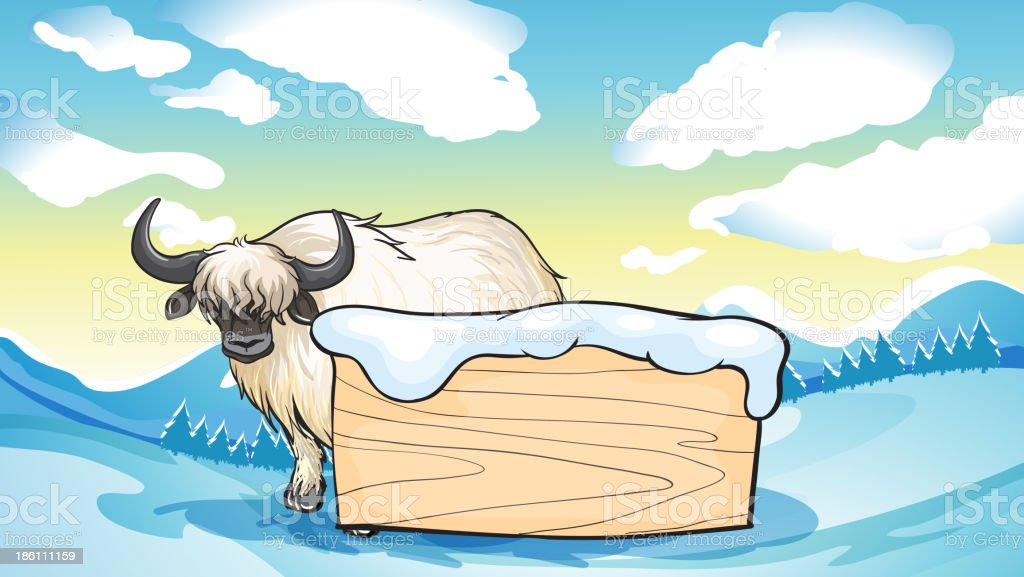 yak at the back of an empty signboard royalty-free stock vector art