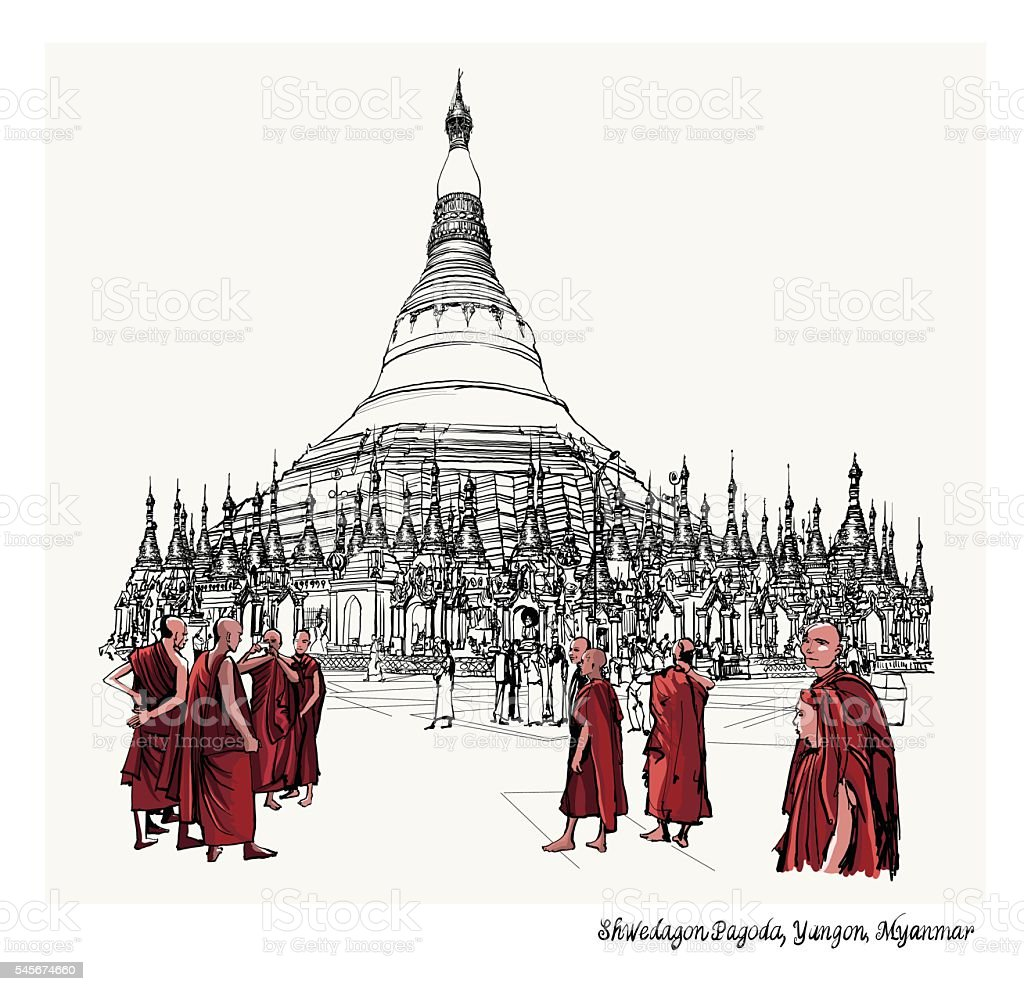 Yangon, Myanmar view of Shwedagon Pagoda vector art illustration
