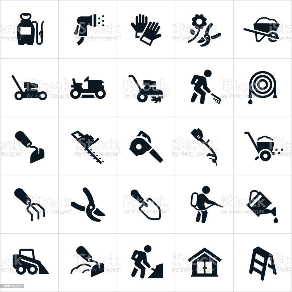 Yard Tools and Equipment Icons vector art illustration