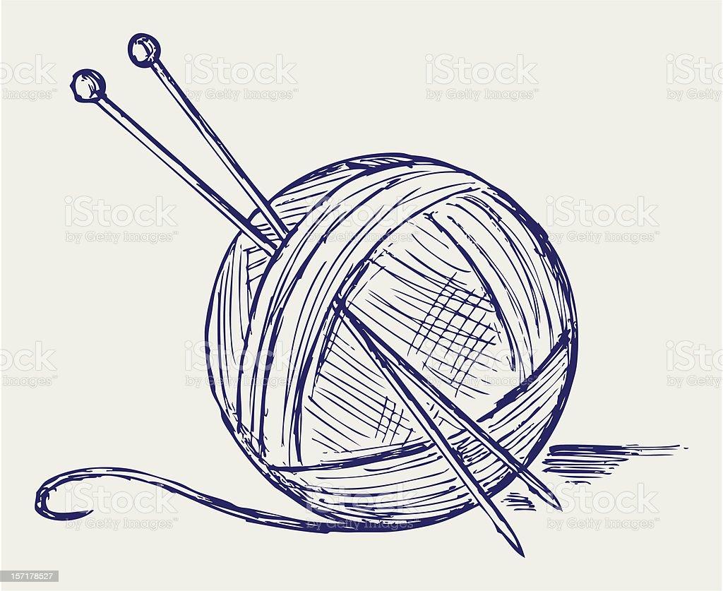 Yarn balls with needles vector art illustration