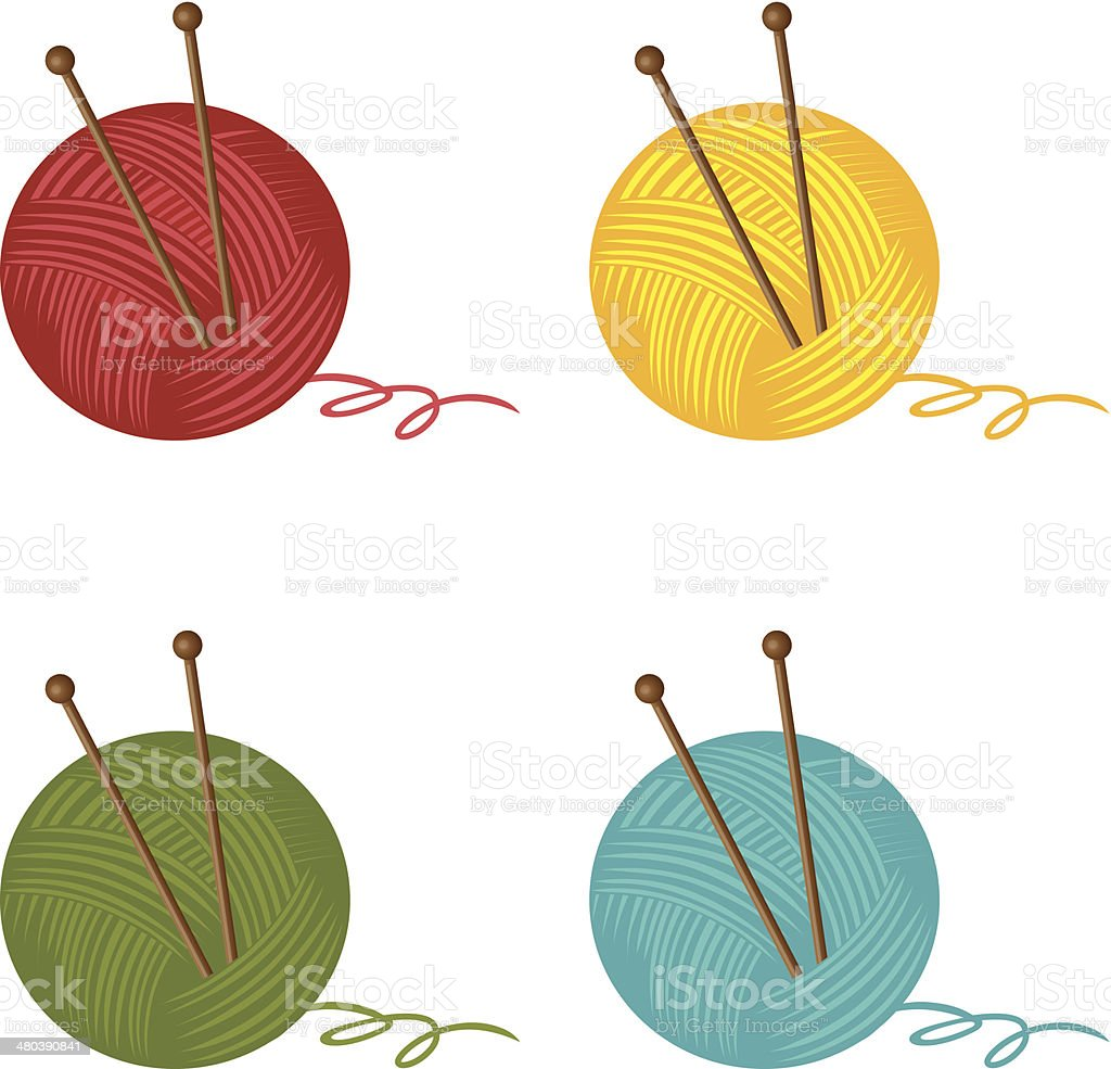 Yarn in different colors vector art illustration