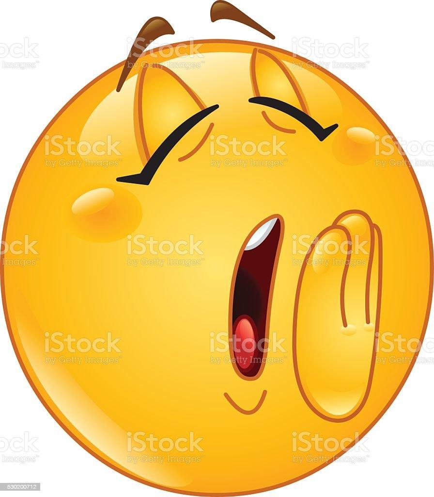 Yawn female emoticon vector art illustration