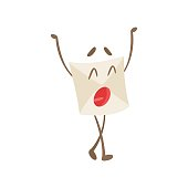 Yawning Humanized Letter Paper Envelop Cartoon Character Emoji Illustration