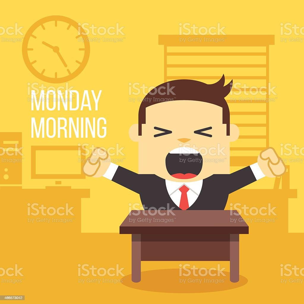 Yawning office worker. Monday morning concept. vector art illustration