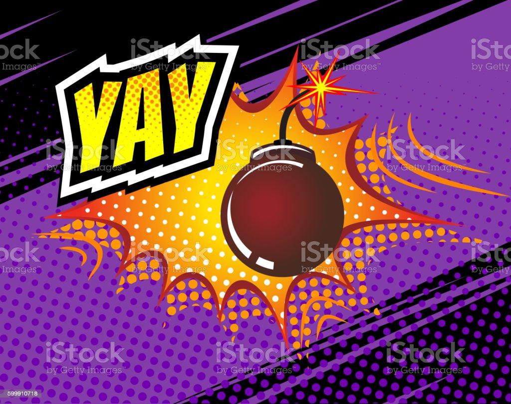 Yay. Vector Retro Comic Speech Bubble, Cartoon Comics Template. Mock vector art illustration