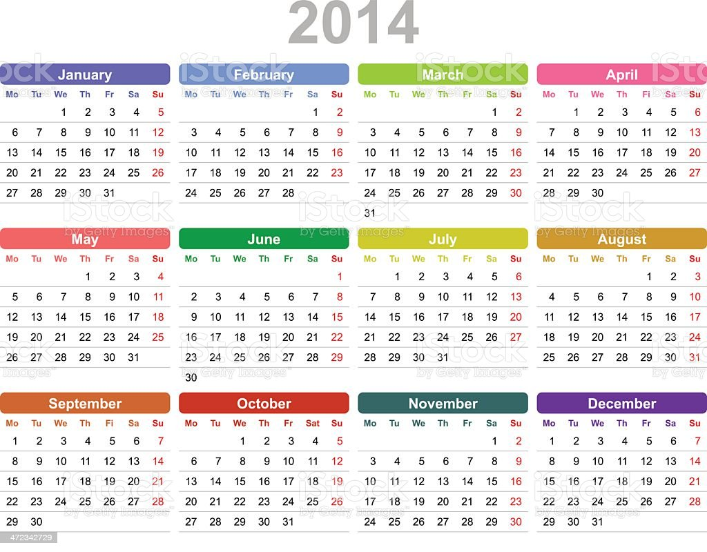 Year 2014 annual calendar (Monday first, English) royalty-free stock vector art