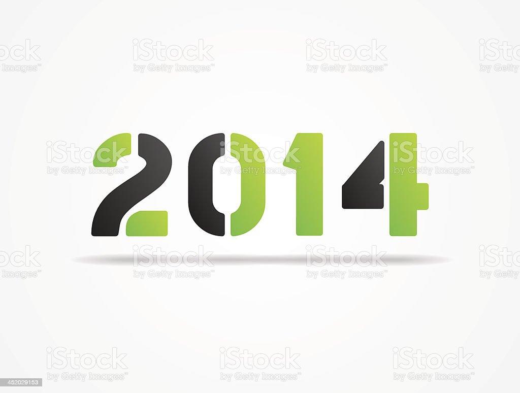 year 2014 green poster vector art illustration