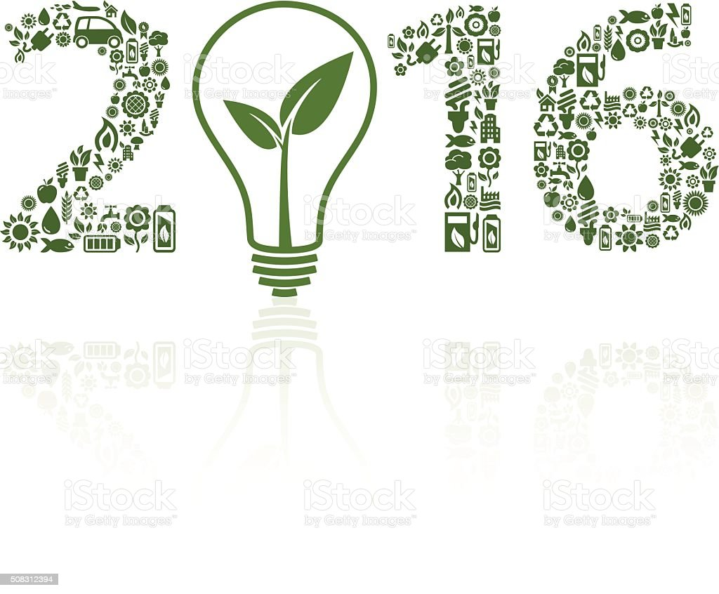 Year 2016 ecology icons with light bulb on white background vector art illustration