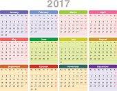 Year 2017 annual calendar (Monday first, English)