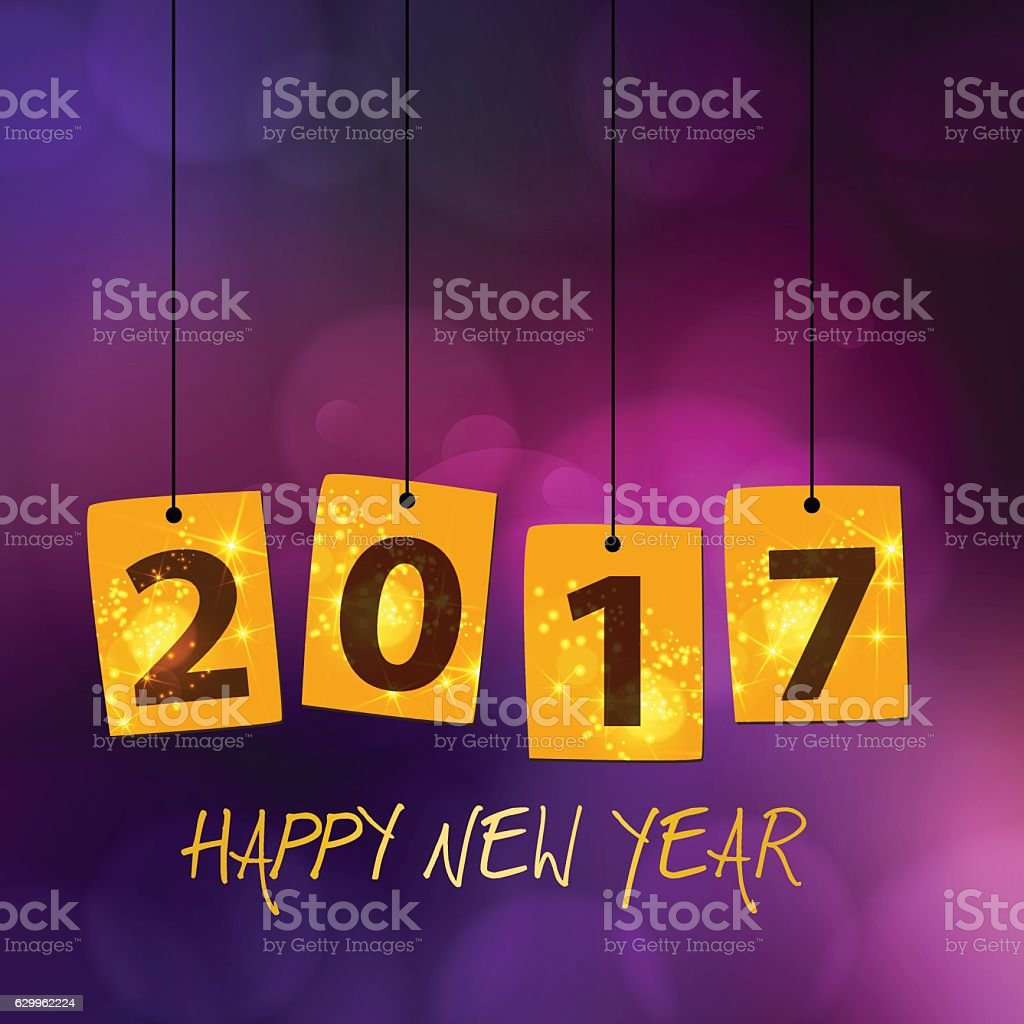 Year 2017 hanging signs for new years eve multicolor background vector art illustration
