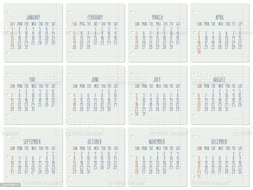Year 2017 monthly calendar vector art illustration