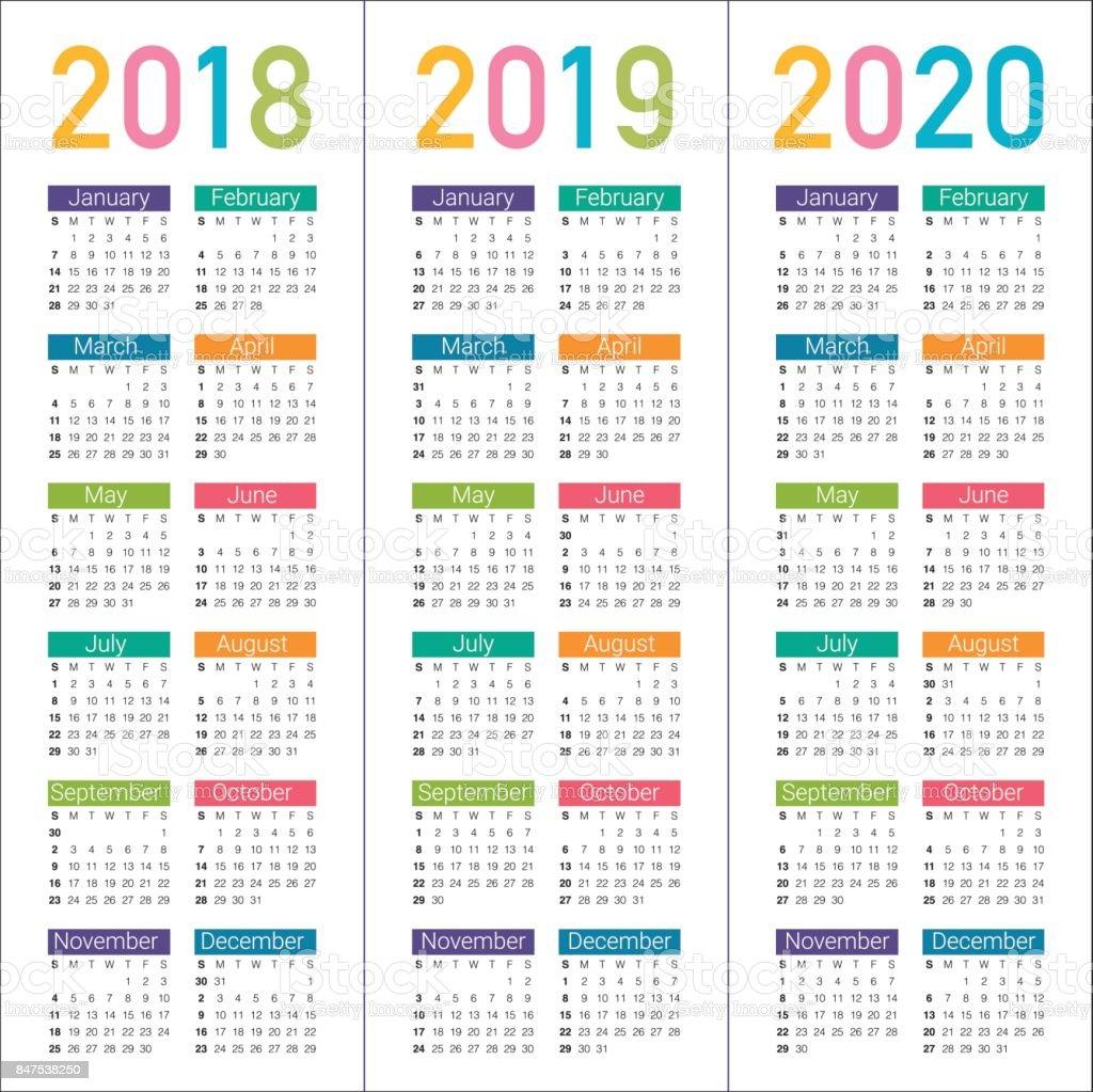 2018 2019 2020 년 달력 벡터 일러스트 847538250 istock