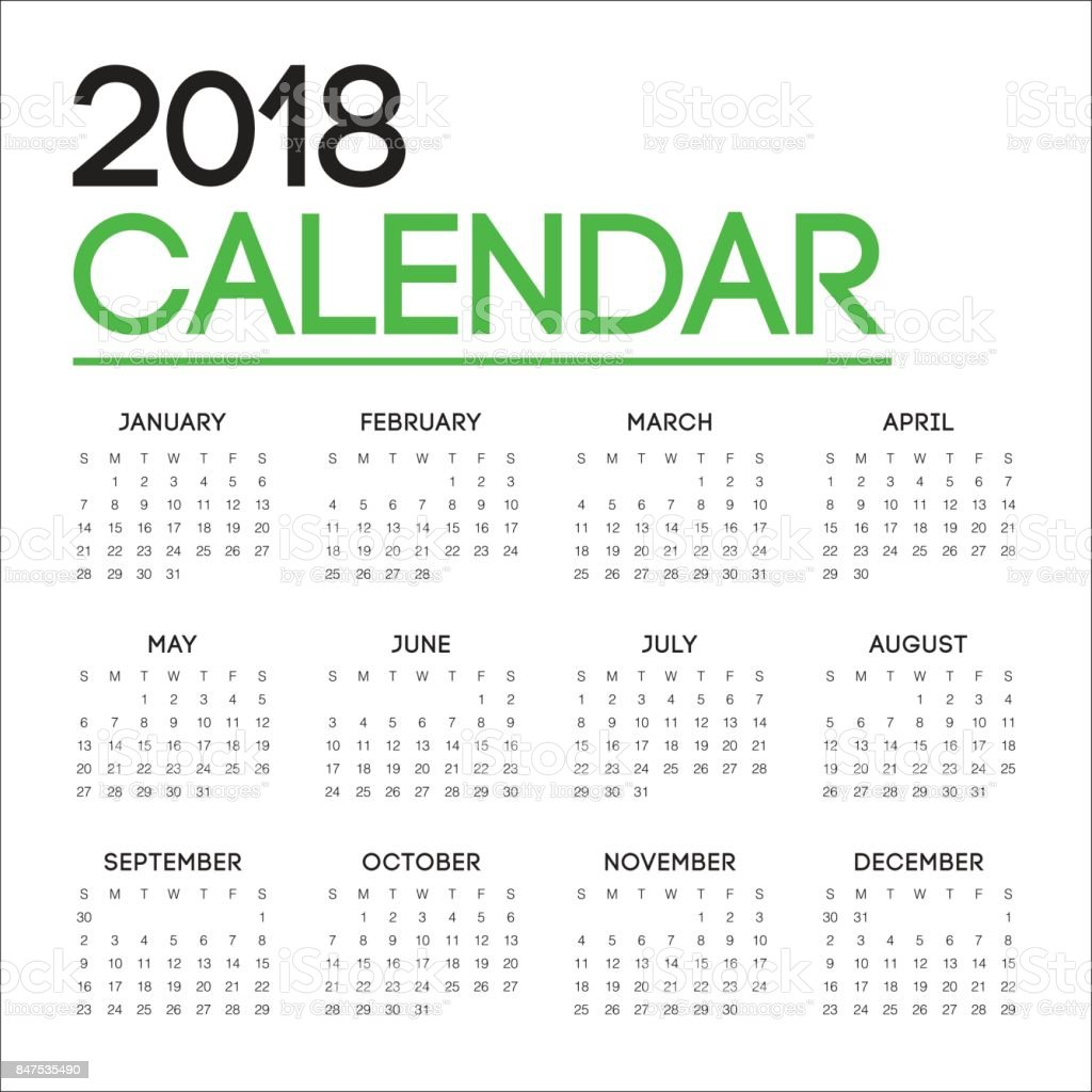 Year 2018 Calendar Vector Design Template stock vector art ...