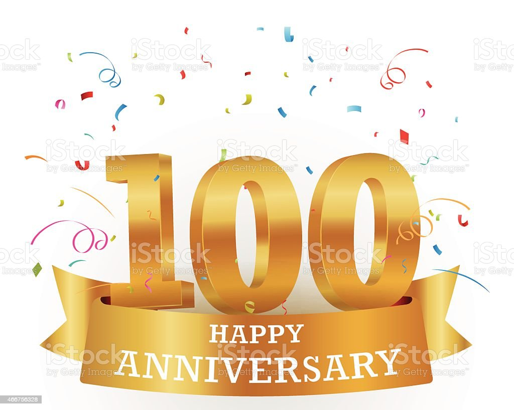 100 year anniversary banner with confetti vector art illustration